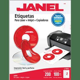 Etiqueta para CD color blanca, medida 117 mm, paquete con 200 etiquetas