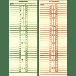 Tarjeta mensual modelo M-5175.