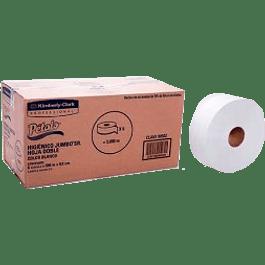 Papel higienico Jumbo Sr caja con 6 bobinas de 500 metros x 9.5 cm de ancho.