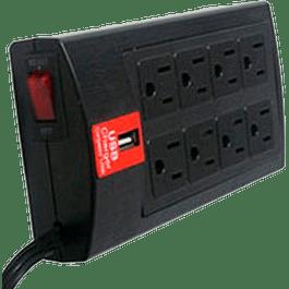 Multi-contacto supresor de picos 8 contactos y puerto USB