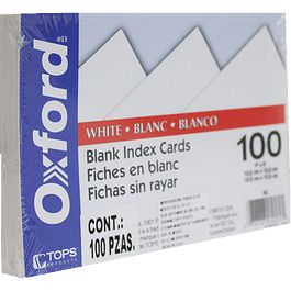 Tarjeta indice color blanca, tamaño 10.1 x 15.2 cm (4