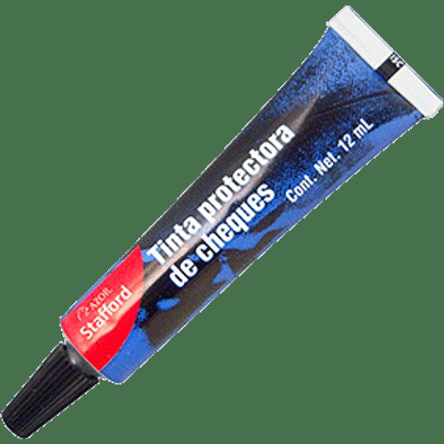 Tinta  protectora de cheques y foliador color azul, tuo con 12 ml.