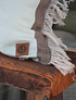 Cojín lino con rayas desflecado 60x40 cm café y agua