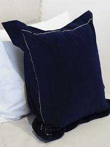 Cojin 50x50 fusión terciopelo pestaña azul