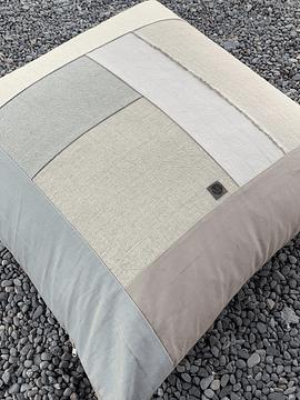 Cojín 1x1 mt patchwork base rosillo