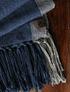 Piecera de alpaca Queen azul y borde de lino