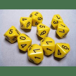 Set de 10 dados (10 lados) Opaque Amarillo-Negro