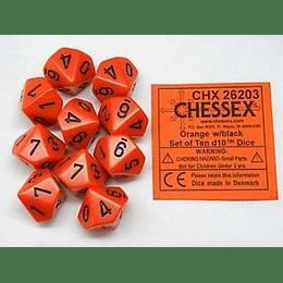Set de 10 dados (10 lados) Opaque Naranjo-Negro