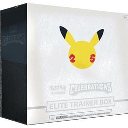 Caja Elite Trainer Box Celebrations + Protectores + dados