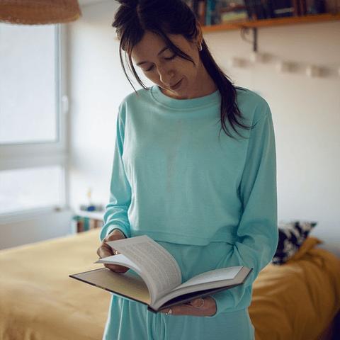 Pijama de lactancia Sofía (celeste)