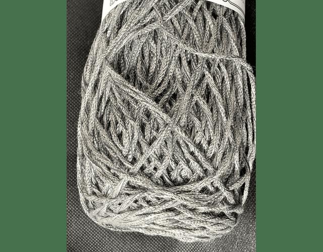 Algodón Artesanal 150 grs. Gris y hebra plateada