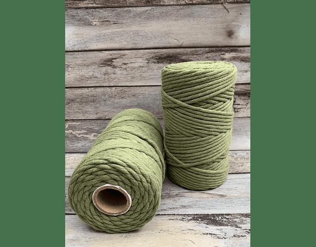 Algodón peinado color verde militar 3mm de 500 grs