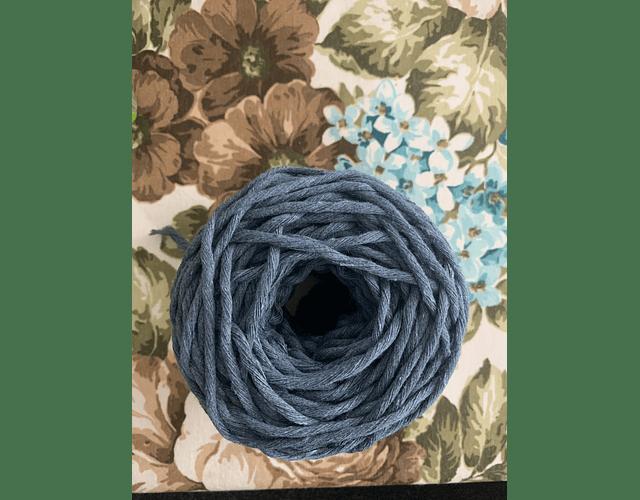 Ovillo Polycotton 3 mm Color azul acero