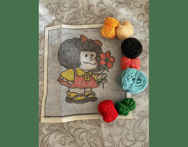 Kit punto cruz Mafalda flor