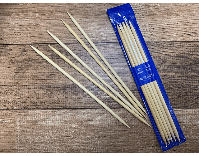 Set 5 Palillos Bambu 20 cm largo de 5 mm