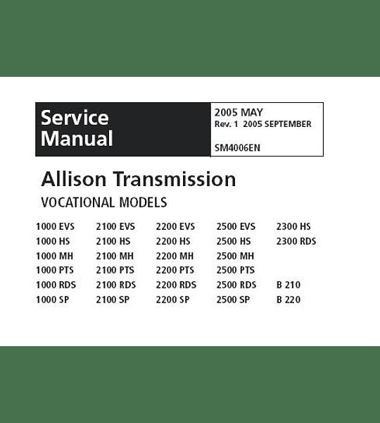 Manual de Servicio y Reparación Transmisión - Allison Series 1000 y 2000