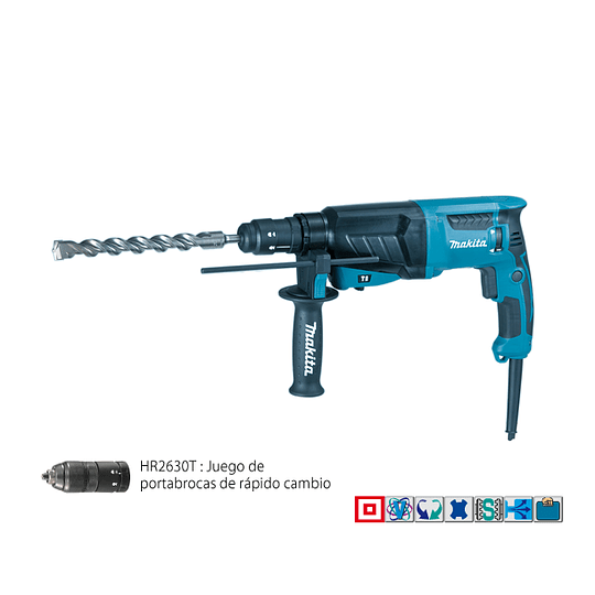 Rotomartillo SDS-PLUS 26mm HR2630T+ Adaptador Makita