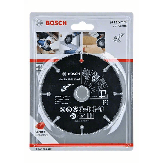 Disco diamantado P/Madera con esmeril 115 mm Bosch