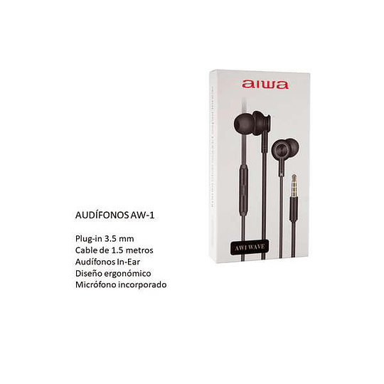 Audífonos c/cable y micrófono negro AW-1 Aiwa