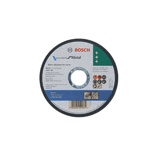 Pack 50 discos fino 115mm corte metal 2608619383 Bosch