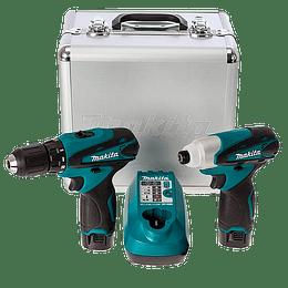 Set de atornilladores DF330D + TD090D c/caja de aluminio LCT204 Makita