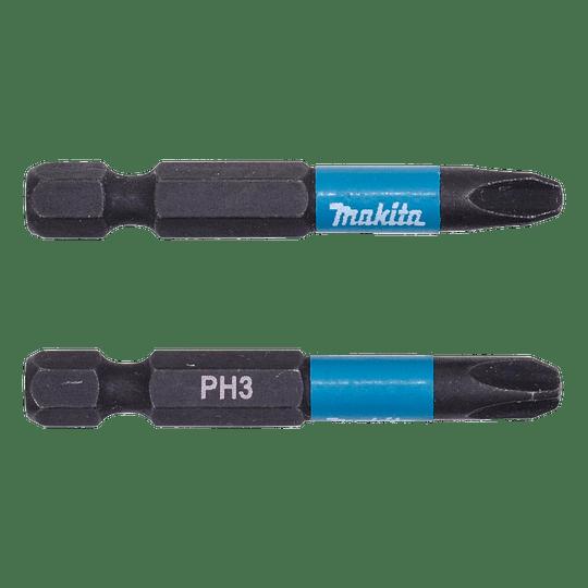Set 2 Puntas Impact Black PH3 50mm B-63731 Makita