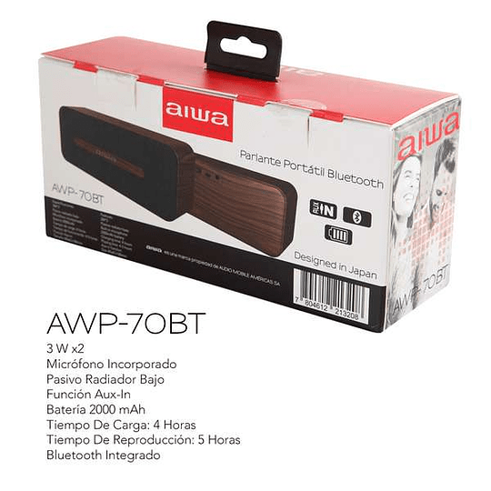 Parlante Bluetooth madera AWP-70BT Aiwa