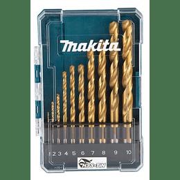 Set Brocas Metal HSS-TIN Surtido 10 pcs Eco D-72849 Makita
