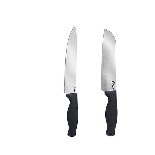 Set Cuchillos Oster Acero 2 Santoku Y 2 Chef Negro