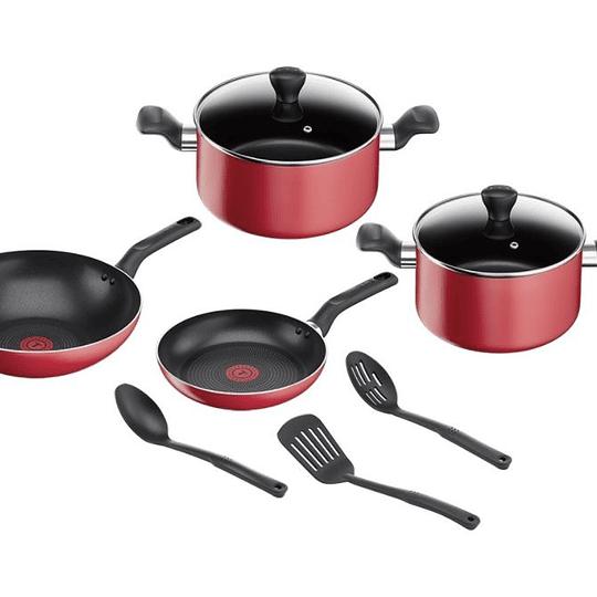 Bateria Cocina 9 piezas Super Cook roja Tefal