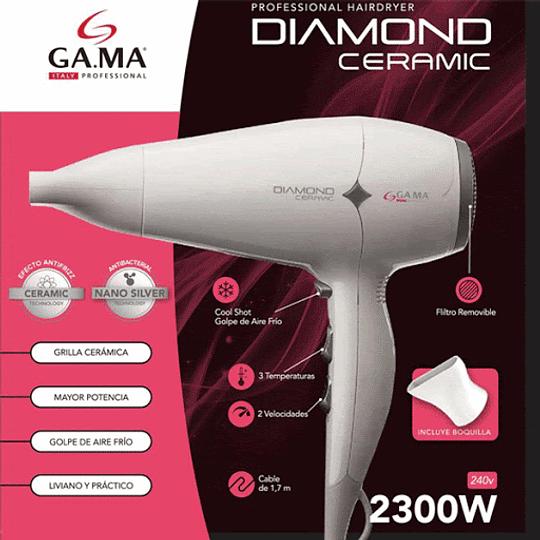 Secador De Pelo Diamond Ceramic Blanco Marca Gama