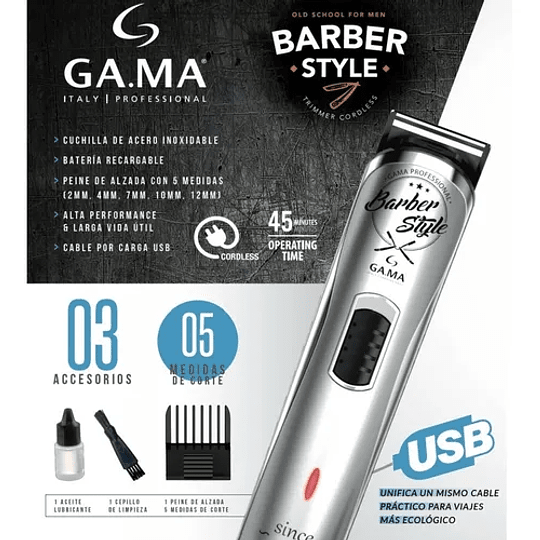 Cortapelo Trimmer Gama Gt 527 Barber Style Usb Old School