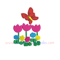 BR88NQ - Flores y mariposa