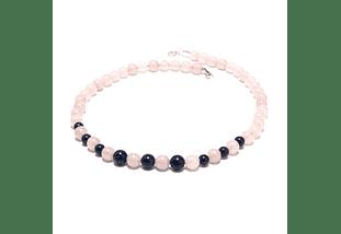 Collar de piedras cuarzo rosado y lapislazuli