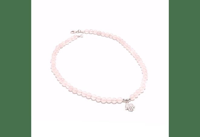 Collar de piedras cuarzo rosado y mano de Fátima de plata