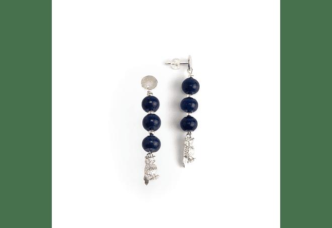Aros búho de plata y piedras lapislazuli