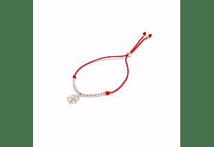 Pulsera hilo rojo regulable y trébol de cuatro hojas de plata