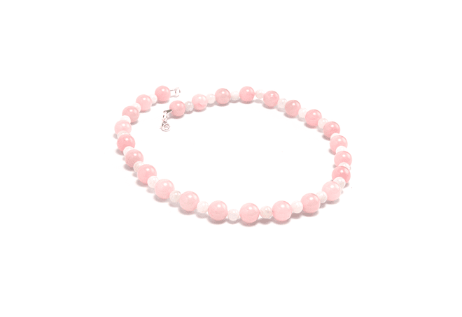 Collar de piedras cuarzo rosado y piedra luna