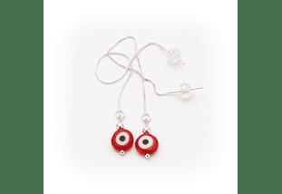 Aros de plata y ojo turco rojo