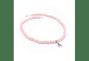 Collar de piedras cuarzo rosado e inicial de plata