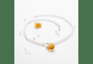 Collar de piedras cuarzo blanco y colgante citrino