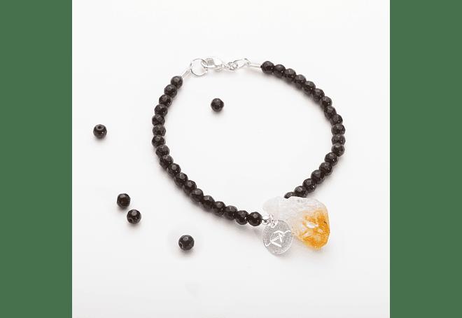 Pulsera de piedras ágatas negras y citrino