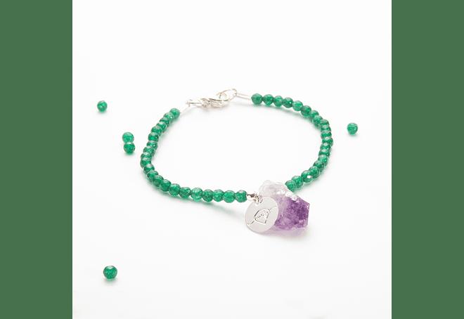 Pulsera de piedras ágata verde y amatista