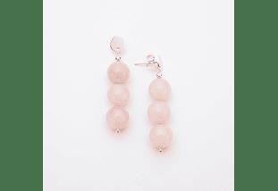 Aros de piedras cuarzo rosa y base de plata