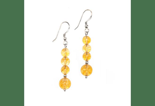 Aros de piedra citrino y detalles de plata