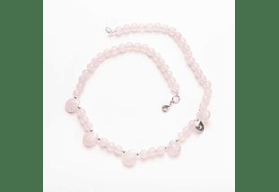 Collar gotas cuarzo rosa