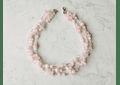 Collar triple cuarzo rosa y plata 950