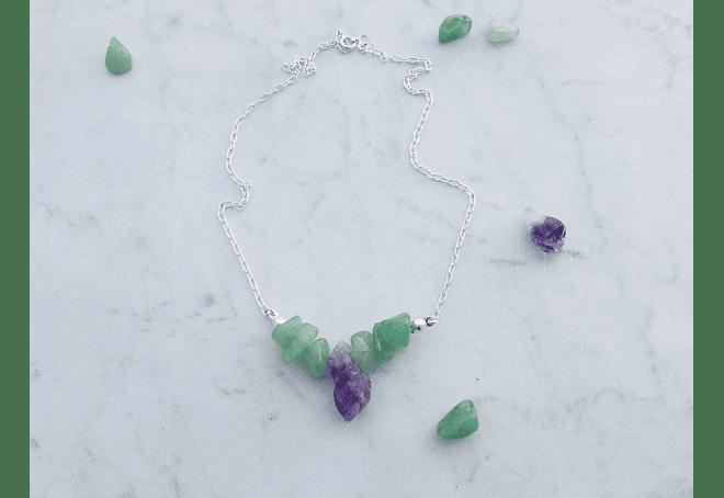 Cadena de plata 980 amatista y jade verde
