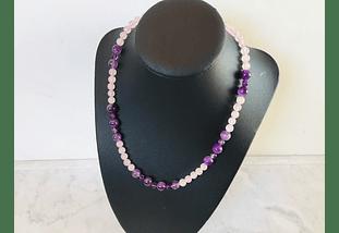 Collar de piedras cuarzo rosado y amatista