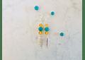 Aros pluma de plata con piedras citrino y turquesa
